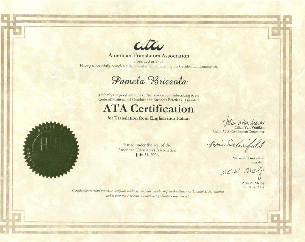 Ata Certification Easytrad